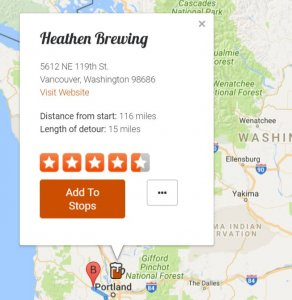 Screenshot of a brewery using the map view
