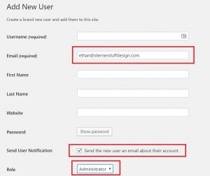 """Important fields highlighted in the """"Add New User"""" form"""