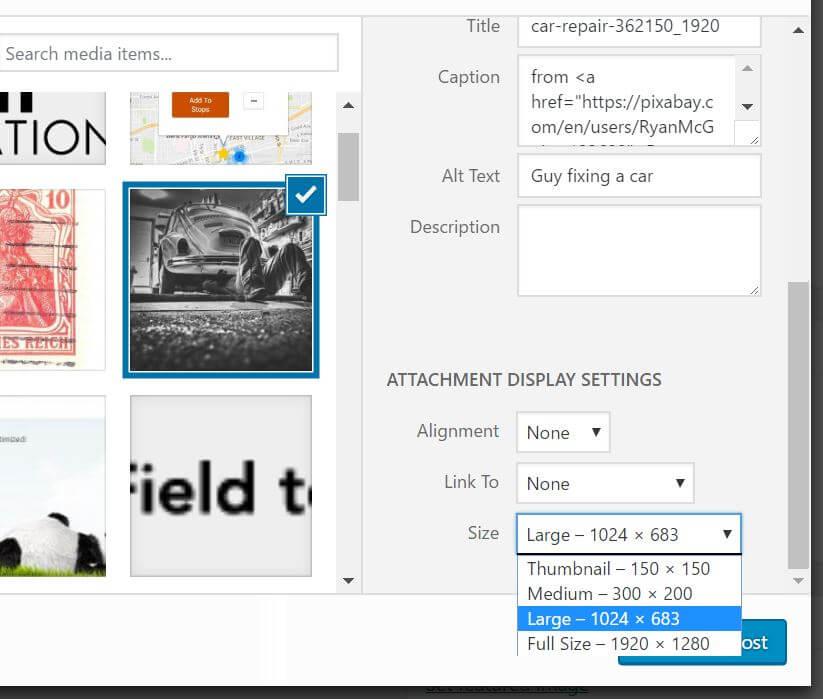 The image size dropdown in the WordPress media uploader