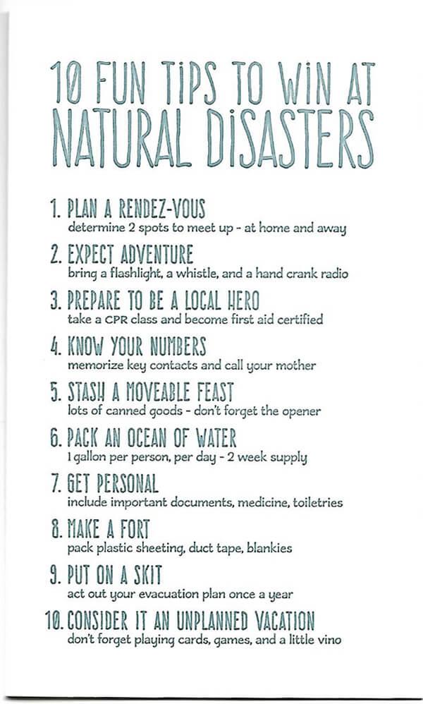 """""""10 fun tips to win at natural disasters"""" card"""