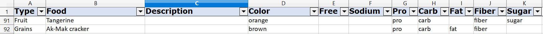 The original spreadsheet Julie uses
