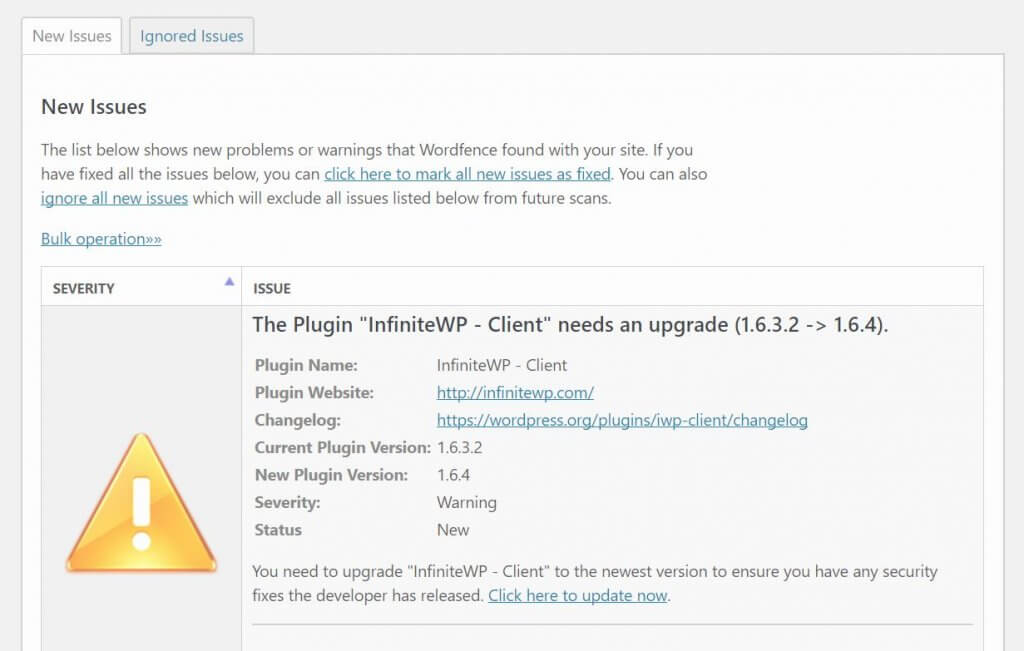 A WordFence out-of-date plugin warning