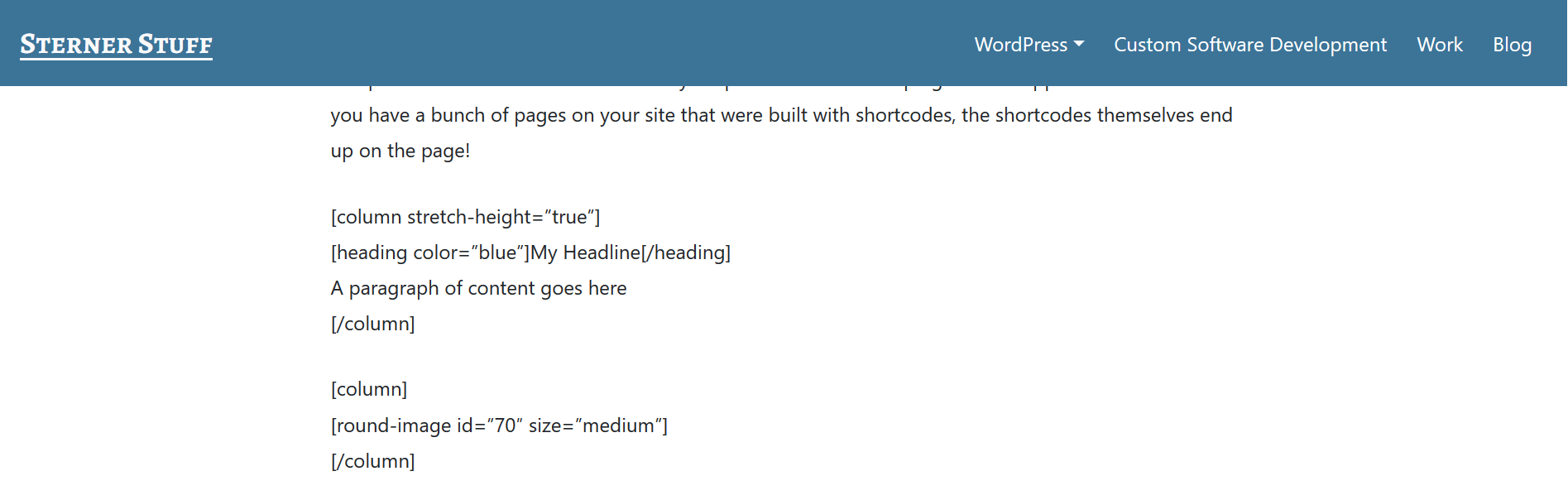 Shortcodes being output into the content of a page